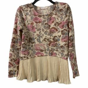 LC LAUREN CONRAD PLeated Long Sleeve Floral Top S